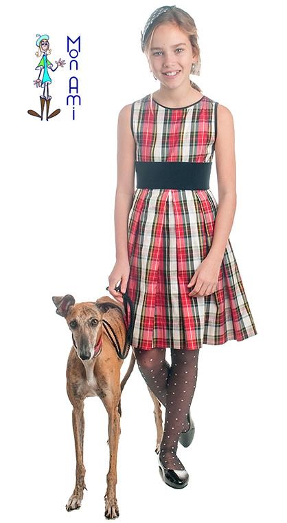 vestido dupion cuadros escoceses sin mangas